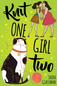 Knit One, Girl Two by Shira Glassman cover. It shows an illustration of two women kissing and a cat playing with yarn.
